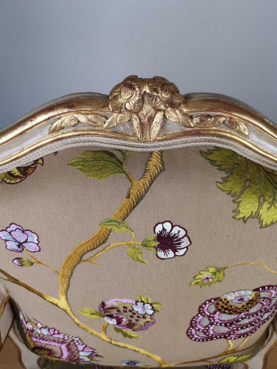 Paire de fauteuils de salon d'apparat d'époque Louis XV, att à Gourdin.-photo-6