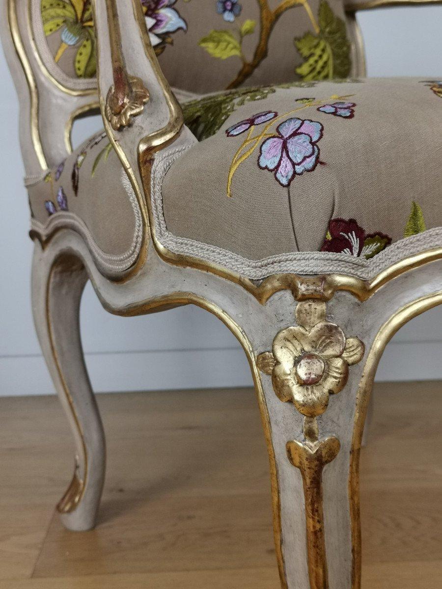 Paire de fauteuils de salon d'apparat d'époque Louis XV, att à Gourdin.-photo-7