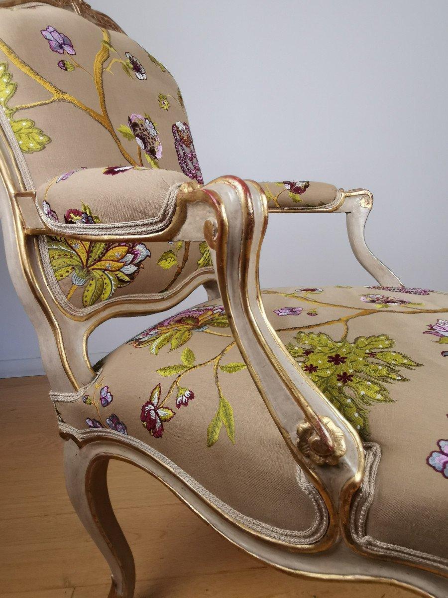 Paire de fauteuils de salon d'apparat d'époque Louis XV, att à Gourdin.-photo-8
