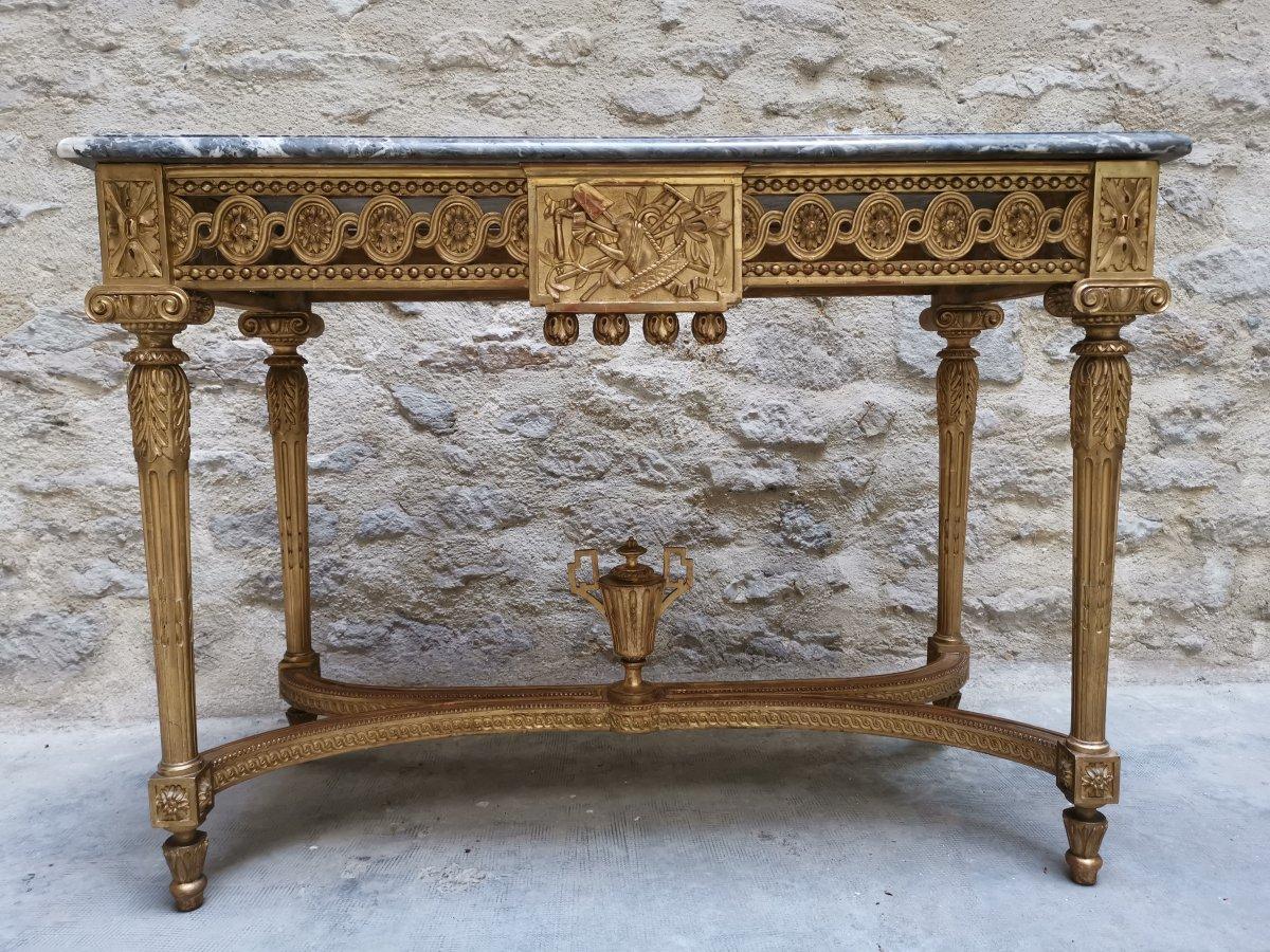 Table Console Néoclassique à Quatre Pieds Louis XVI Vers 1800