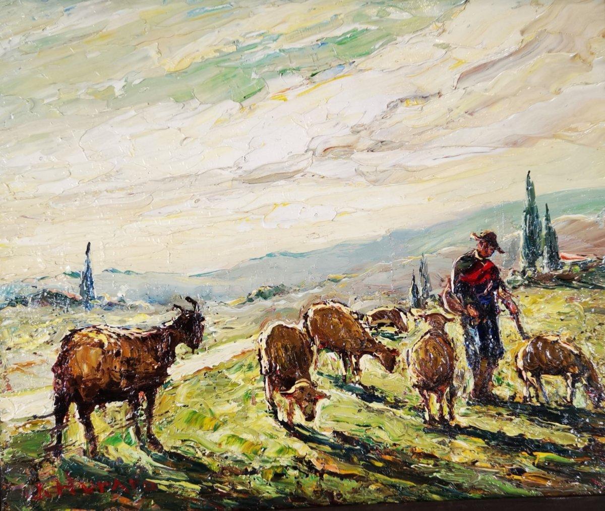 Joseph Hurard 1887-1956    Chèvre Et Moutons En Pâture