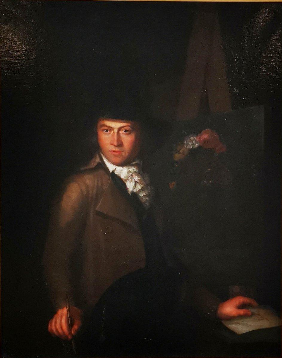 Autoportrait En Clair Obscur Du XVIIIème Siècle Vers 1770-1780.-photo-2