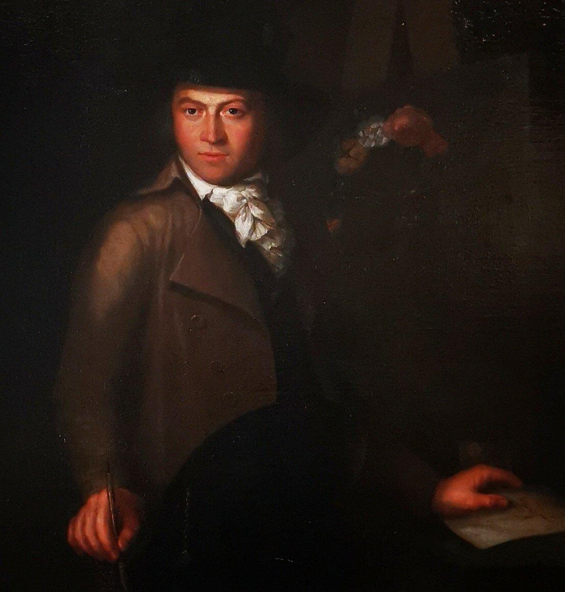 Autoportrait En Clair Obscur Du XVIIIème Siècle Vers 1770-1780.-photo-3
