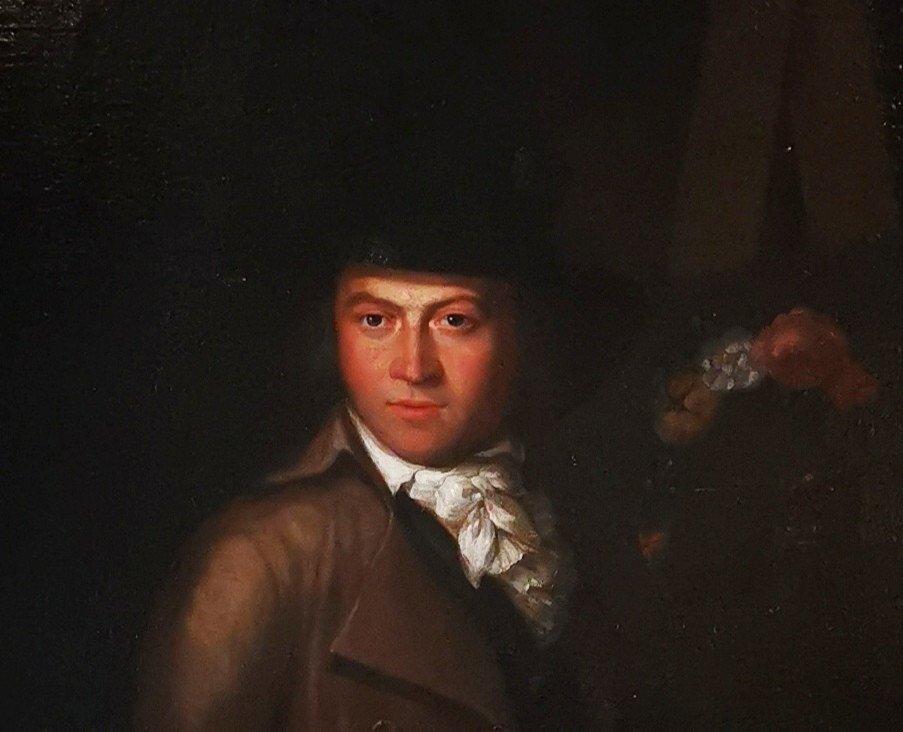 Autoportrait En Clair Obscur Du XVIIIème Siècle Vers 1770-1780.-photo-1