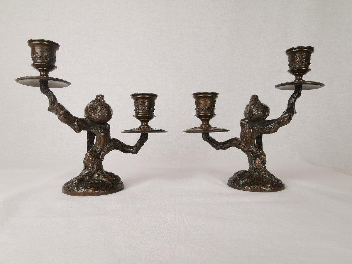 Antoine-louis Barye (1796-1875) Flambeaux Bouts De Table Avec Faisan Endormi.
