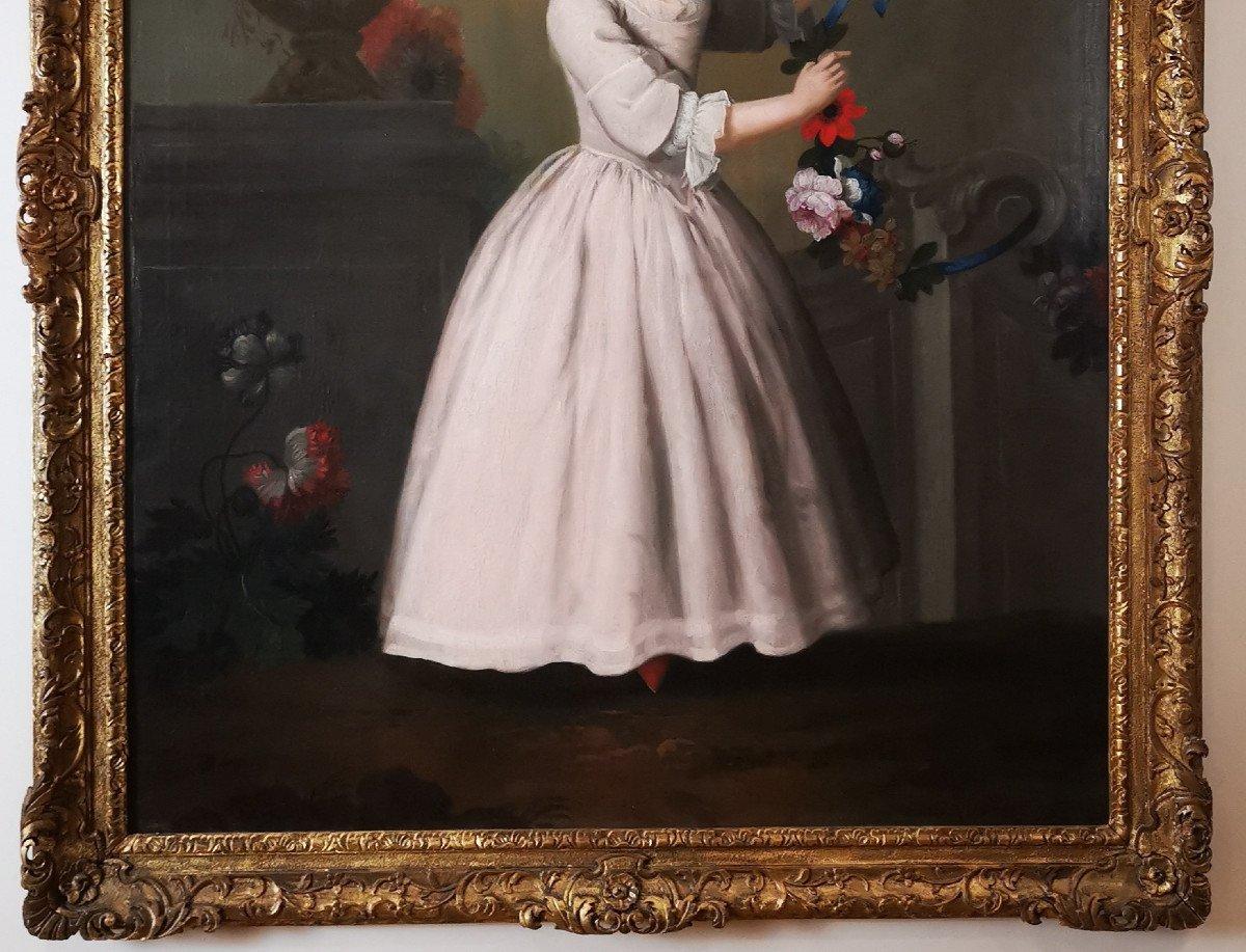 La Jeune Fille à La Guirlande De Fleurs - École Française Fin XVIIIe Siècle.