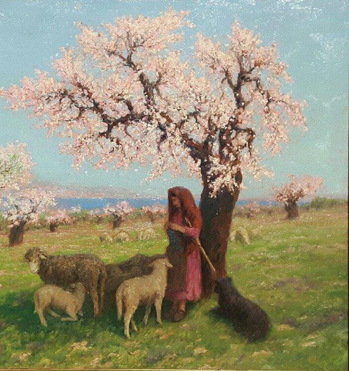 Théo Mayan (1860-1936), Les Amandiers En Fleurs.-photo-1