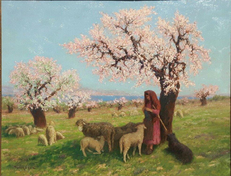Théo Mayan (1860-1936), Les Amandiers En Fleurs.-photo-4