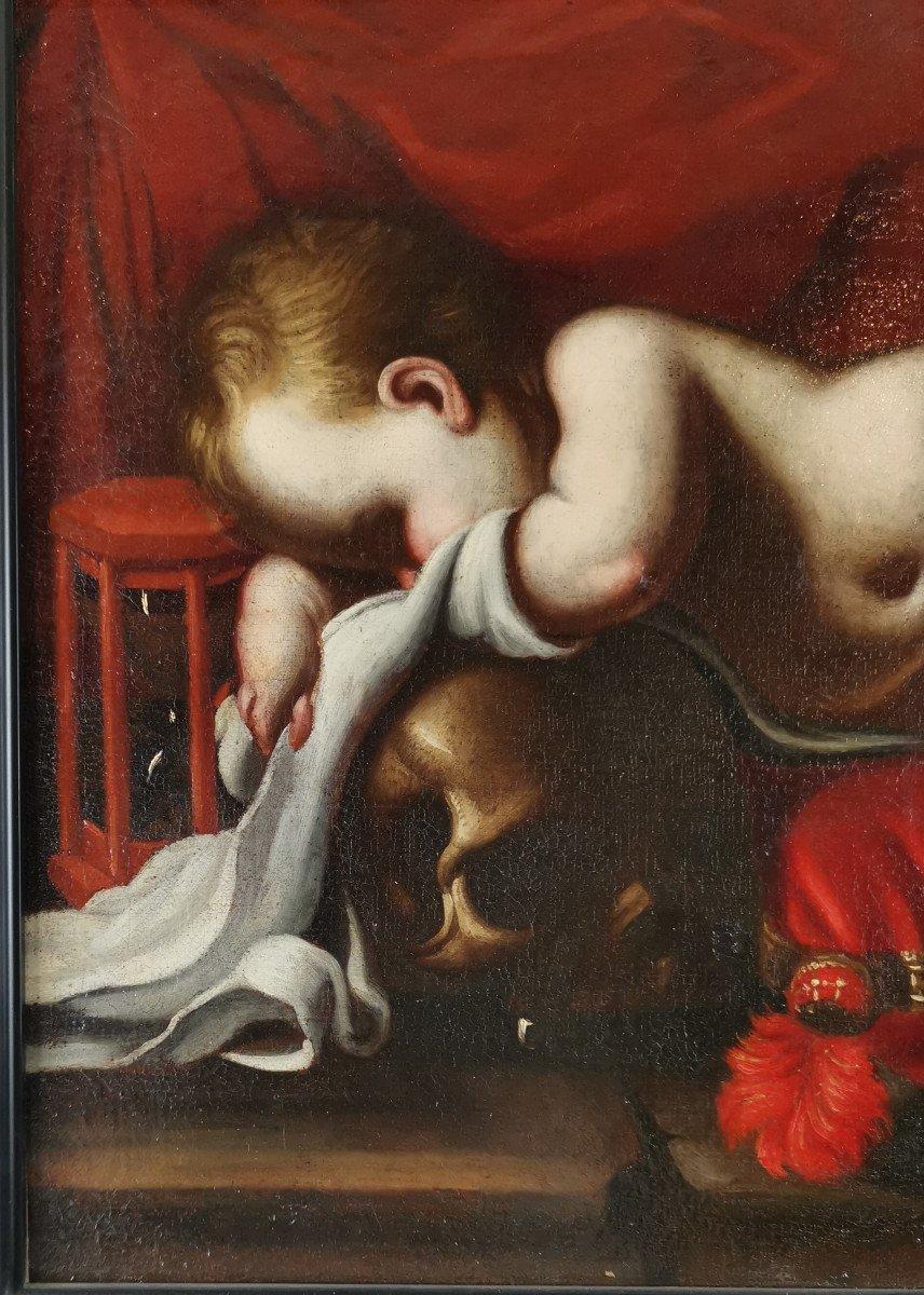 Le Putto Endormi à La Vanité, Atelier De Luigi Miradori Dit, « Le Genovesino » (1605-1656)