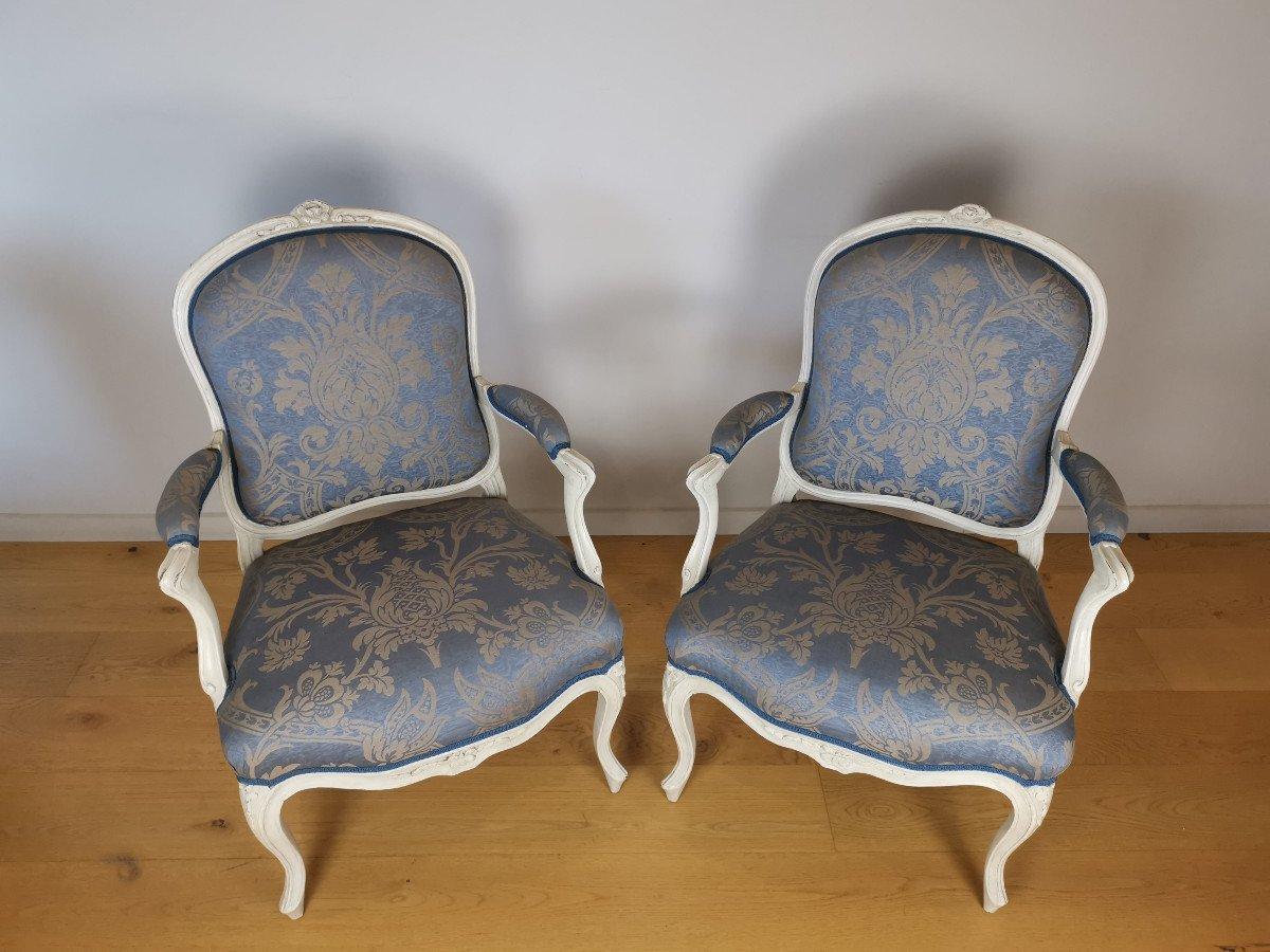 Suite de quatre fauteuils  estampillés de Louis-michel Lefèvre, d'époque Louis XV.-photo-1