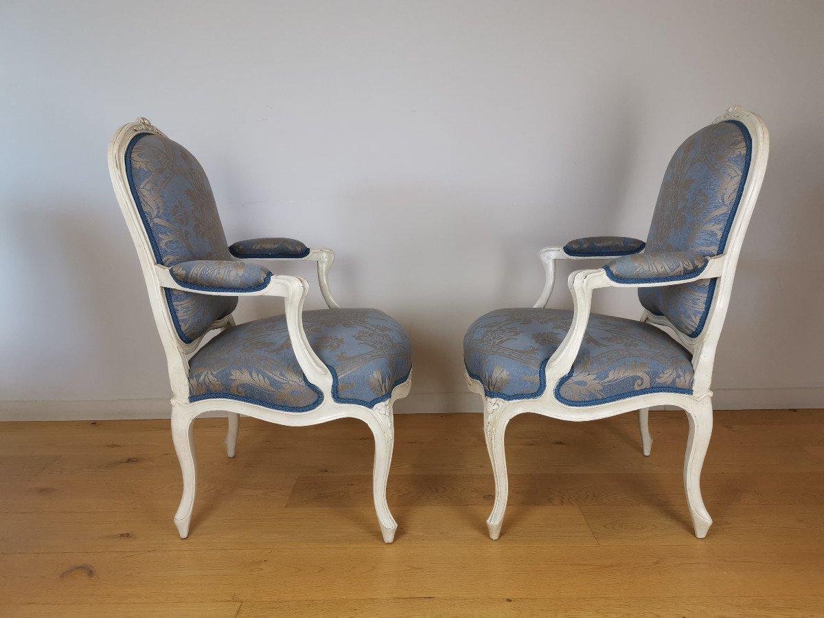 Suite de quatre fauteuils  estampillés de Louis-michel Lefèvre, d'époque Louis XV.-photo-2