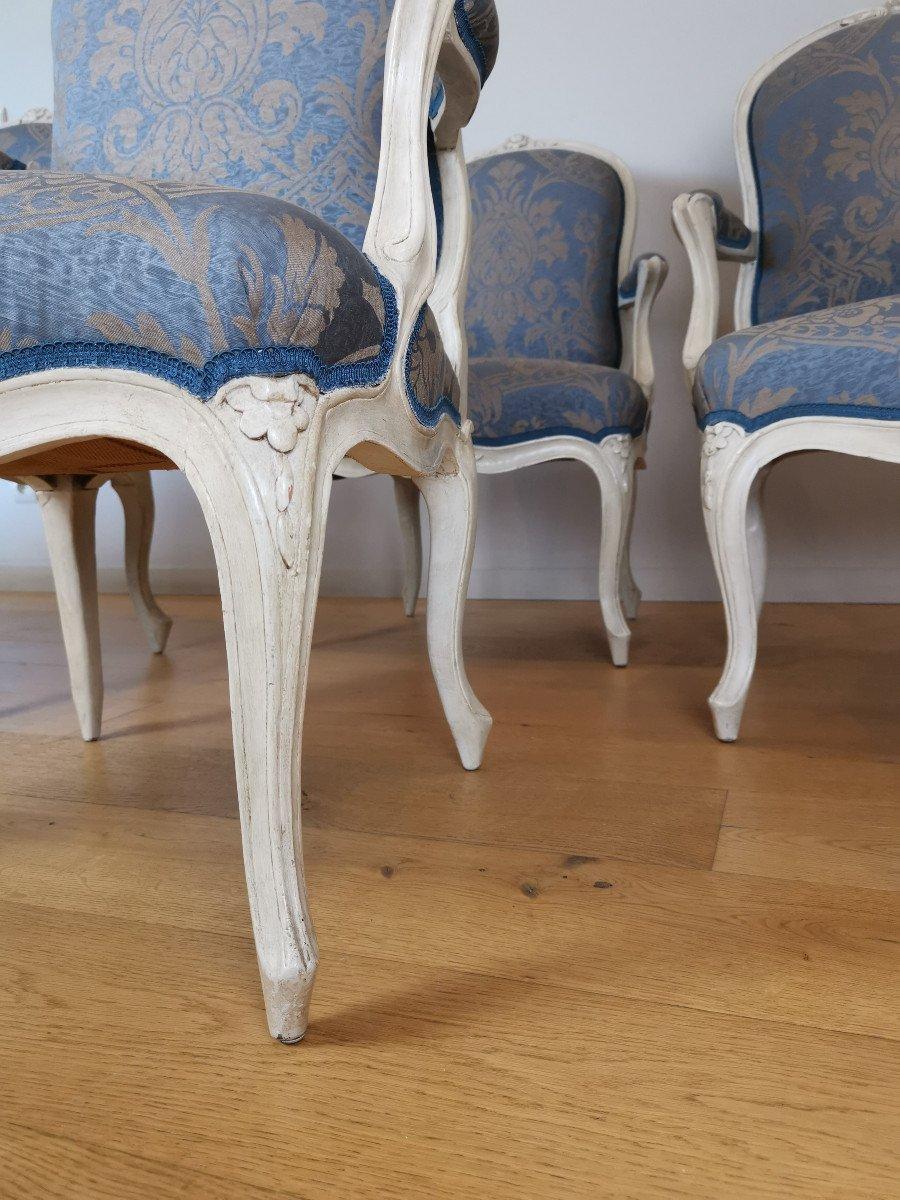Suite de quatre fauteuils  estampillés de Louis-michel Lefèvre, d'époque Louis XV.-photo-5
