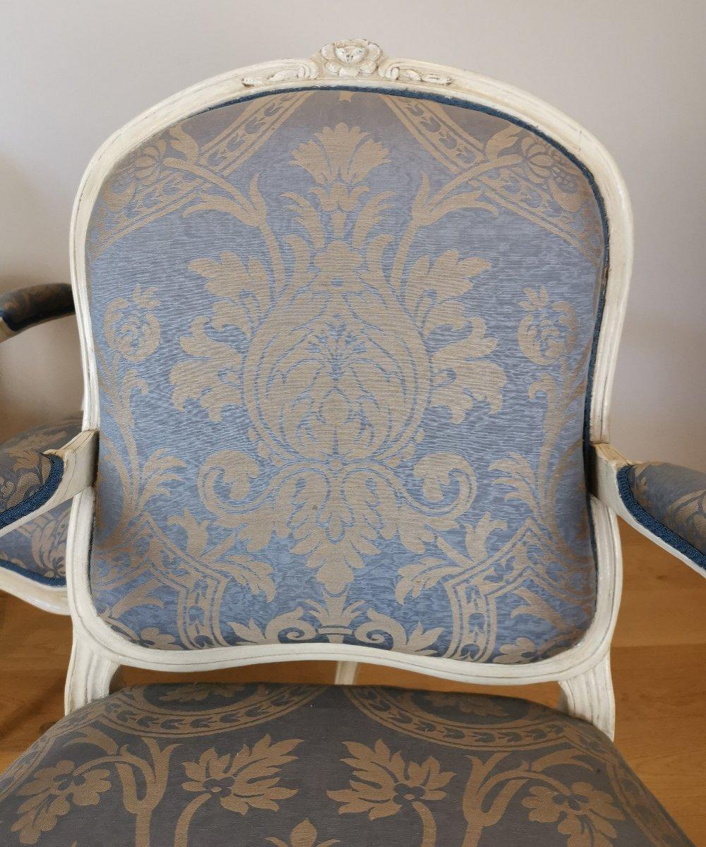 Suite de quatre fauteuils  estampillés de Louis-michel Lefèvre, d'époque Louis XV.-photo-6