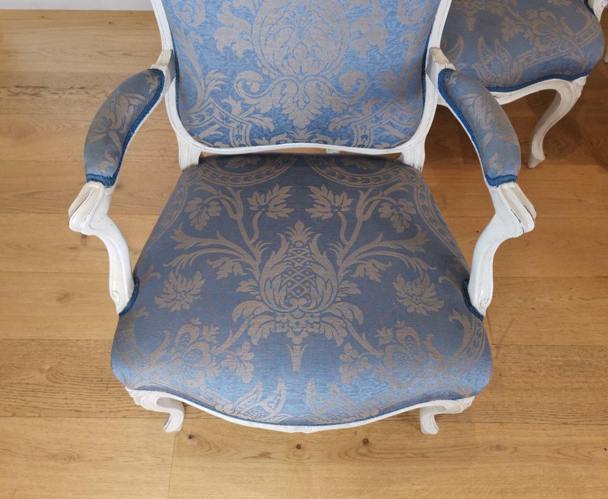 Suite de quatre fauteuils  estampillés de Louis-michel Lefèvre, d'époque Louis XV.-photo-7