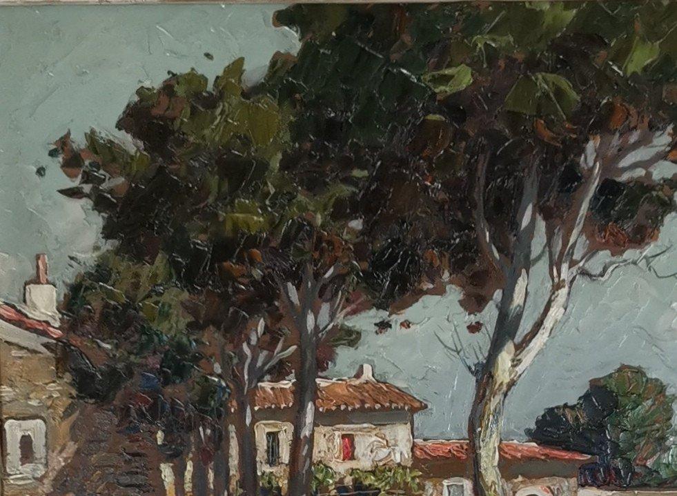 Gustave Vidal, 1895-1966 - La Route Provençale Bordée De Platanes.-photo-1