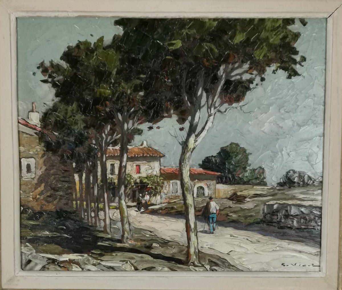 Gustave Vidal, 1895-1966 - La Route Provençale Bordée De Platanes.-photo-4