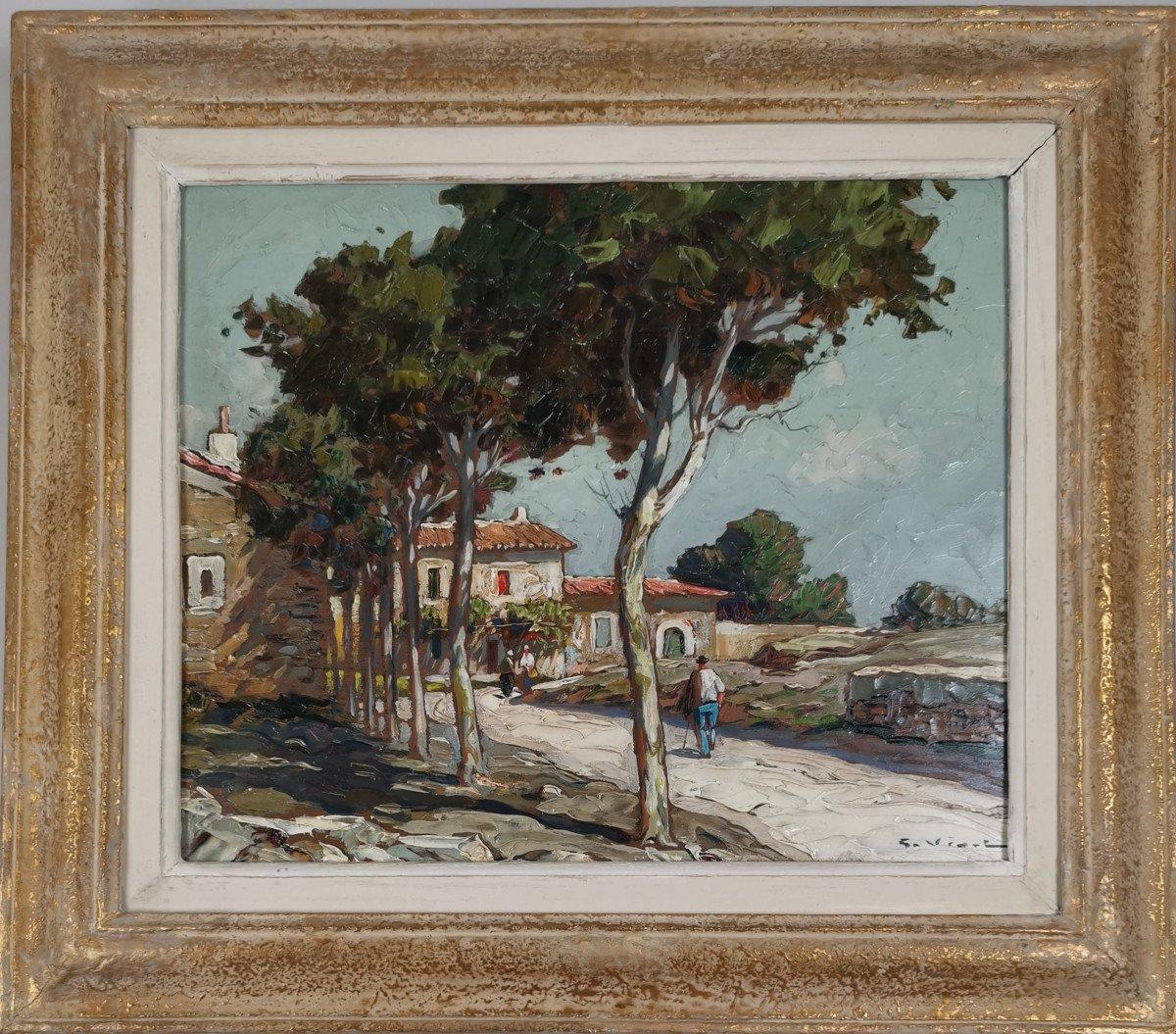 Gustave Vidal, 1895-1966 - La Route Provençale Bordée De Platanes.-photo-5