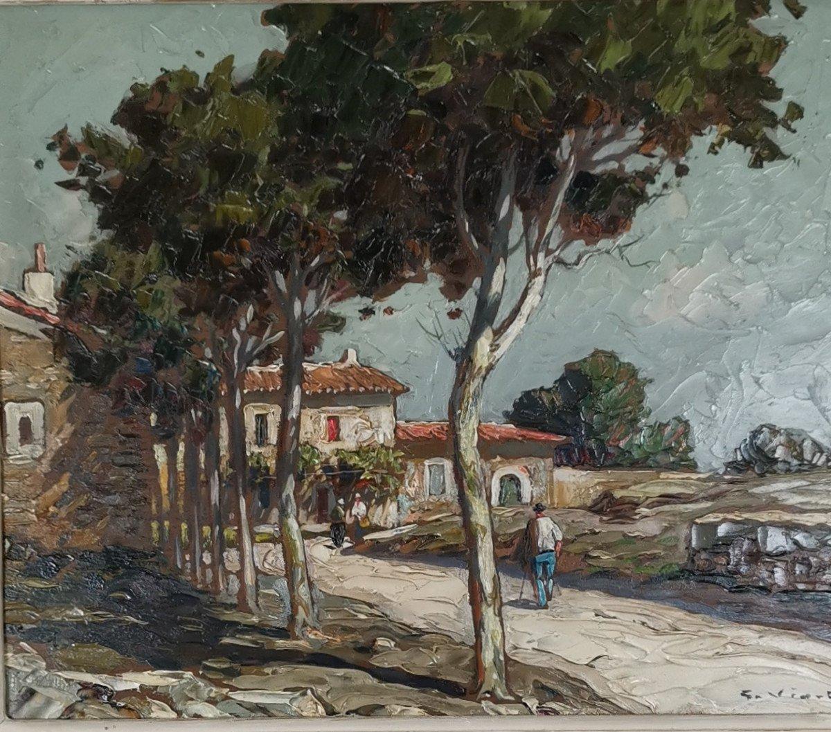 Gustave Vidal, 1895-1966 - La Route Provençale Bordée De Platanes.
