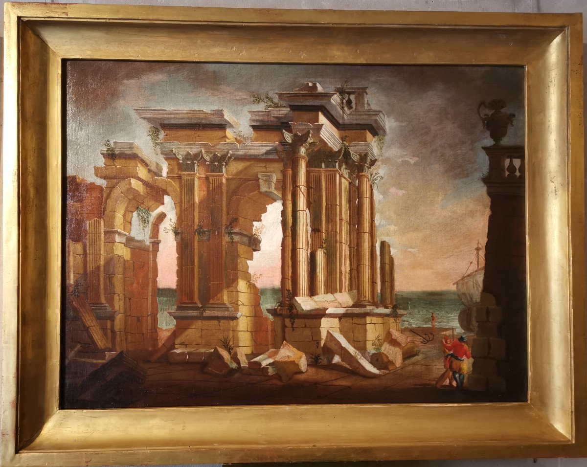 Paire de grands Caprices  Architecturaux de l'atelier d'Alberto Carlieri   (1672-c.1720).-photo-2