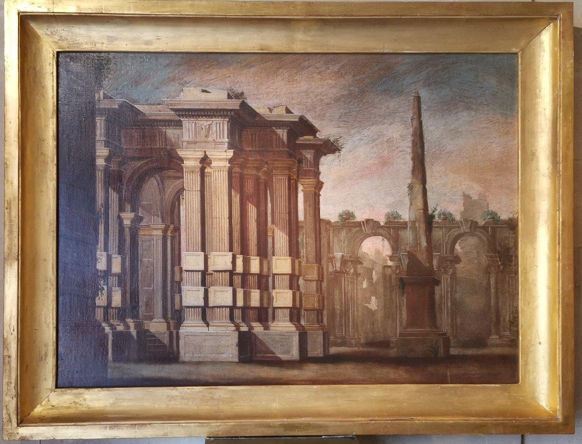 Paire de grands Caprices  Architecturaux de l'atelier d'Alberto Carlieri   (1672-c.1720).-photo-3
