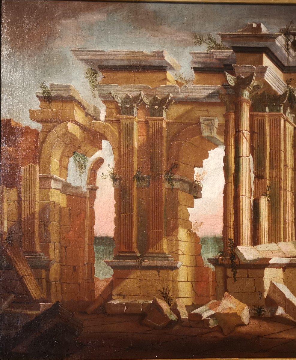 Paire de grands Caprices  Architecturaux de l'atelier d'Alberto Carlieri   (1672-c.1720).-photo-4