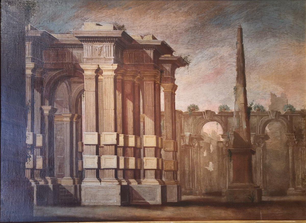 Paire de grands Caprices  Architecturaux de l'atelier d'Alberto Carlieri   (1672-c.1720).-photo-6