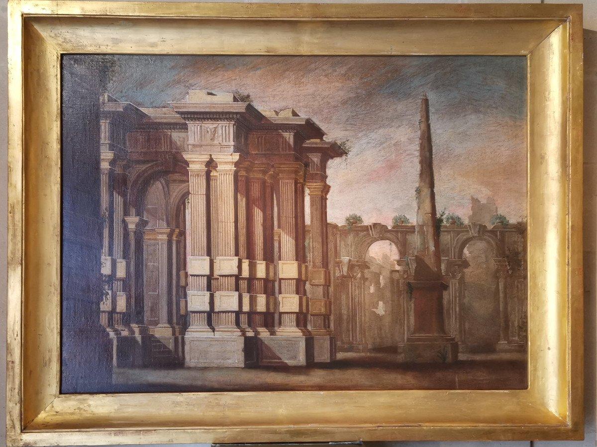 Paire de grands Caprices  Architecturaux de l'atelier d'Alberto Carlieri   (1672-c.1720).-photo-5
