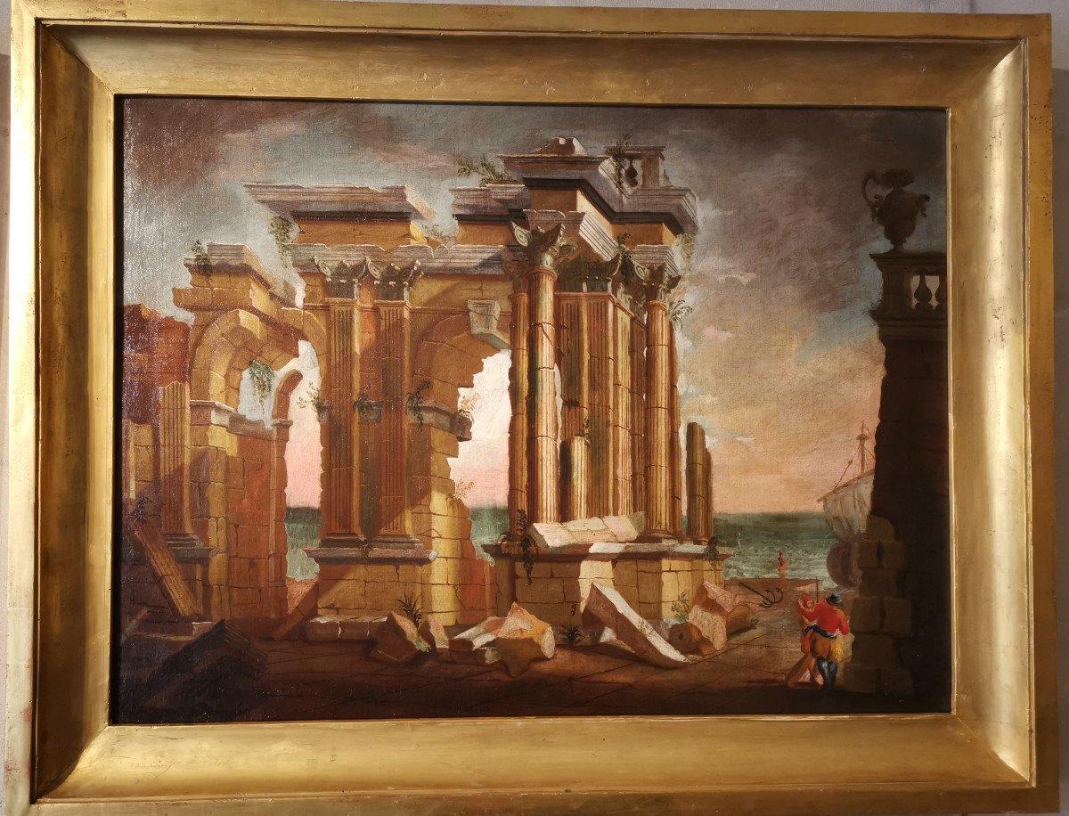 Paire de grands Caprices  Architecturaux de l'atelier d'Alberto Carlieri   (1672-c.1720).-photo-1