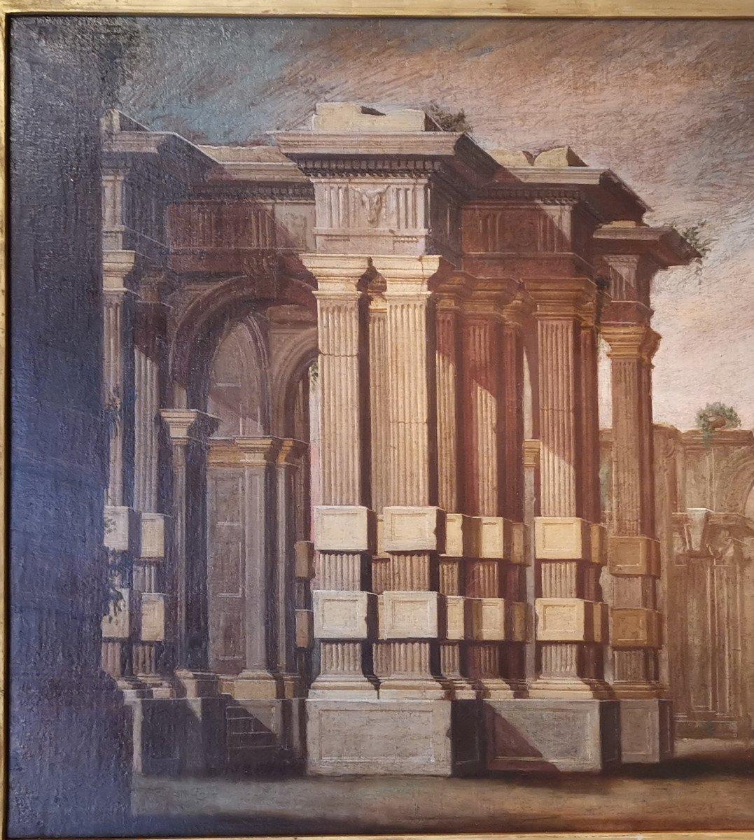Paire de grands Caprices  Architecturaux de l'atelier d'Alberto Carlieri   (1672-c.1720).-photo-7