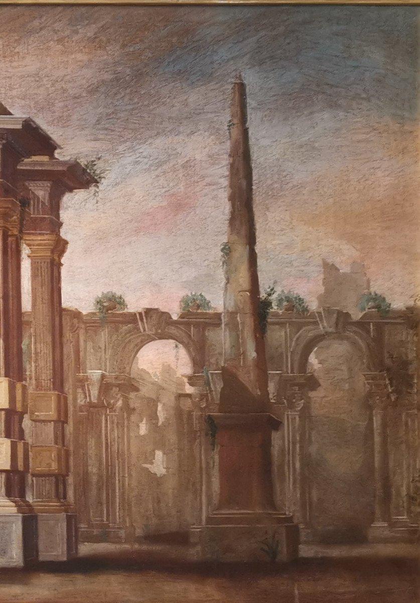 Paire de grands Caprices  Architecturaux de l'atelier d'Alberto Carlieri   (1672-c.1720).-photo-8