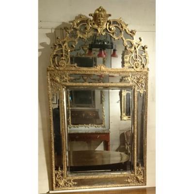 Miroir à Fronton d'époque Louis XIV à Baguettes De Verre à Triple Facettes Biseautées - Début D