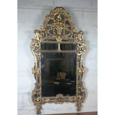 Important Miroir Provençal à Parclose Louis XV Milieu Du XVIIIe Siècle