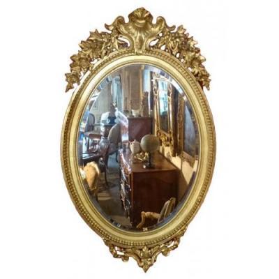 Grand Miroir Ovale Haussmannien d'époque Napoléon III 1855-1865