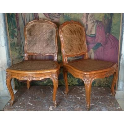 Paire De Chaises d'époque Louis XV Par Louis Cresson