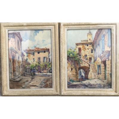 Georges Chappuis Paire D'aquarelles De Vaison La Romaine