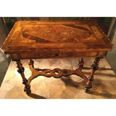 Table Marquetée D'époque Louis XIV Dernier Décennie Du XVIIe Siècle.