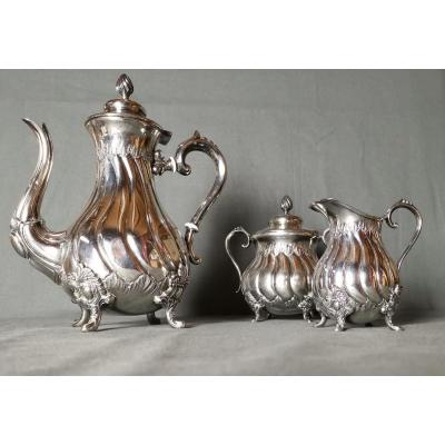 Coffee Service Of The Manufacture d'Orfèvrerie d'Ercuis Napoleon III Around 1880-1900.