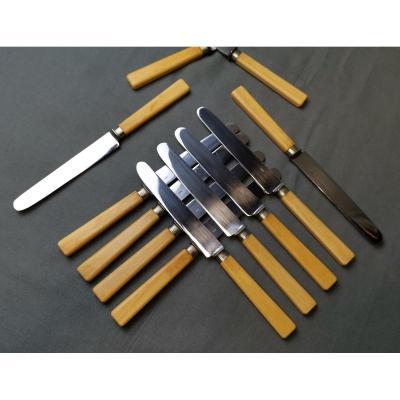 Twelve Knives Ivory, Silver, Chromed Steel Napoleon III.
