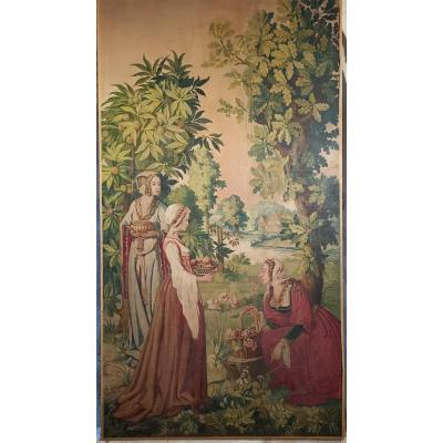 Medieval Life Scene In An Orchard.