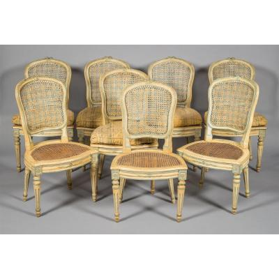 Rare Suite From Huite Caned Chairs Louis XV Period, Transition Period.