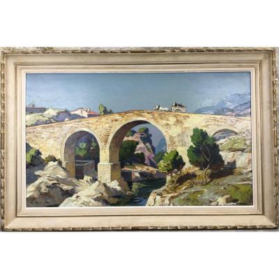 Gustave Vidal (1895-1966) Le Vieux Pont Romain.