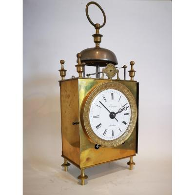 Officer's Travel Clock Called Capucine Empire Period Around 1800.