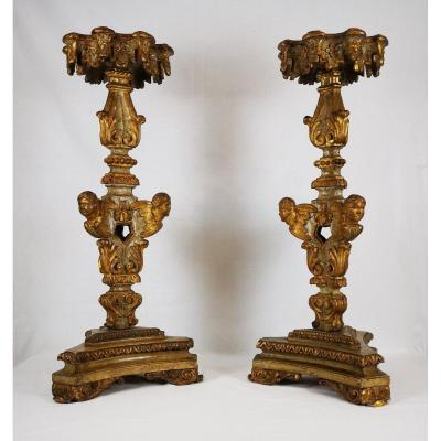 A Louis XIV Pair Of Giltwood And Laquered  Torchère Table Early 18th Century.