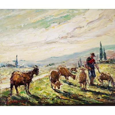 Joseph Hurard 1887-1956 Goat And Sheep In Pasture.