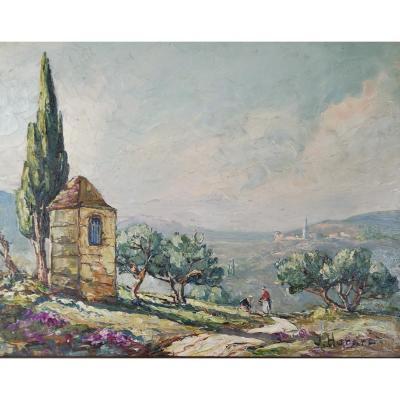Joseph Hurard 1887-1956  Le Prieuré de Ste Victoire Notre Dame de Rochefort à Rochefort du Gard