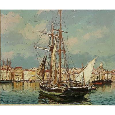 Gustave Vidal, 1895-1966 - Marseille, Sailboat In The Old Port.