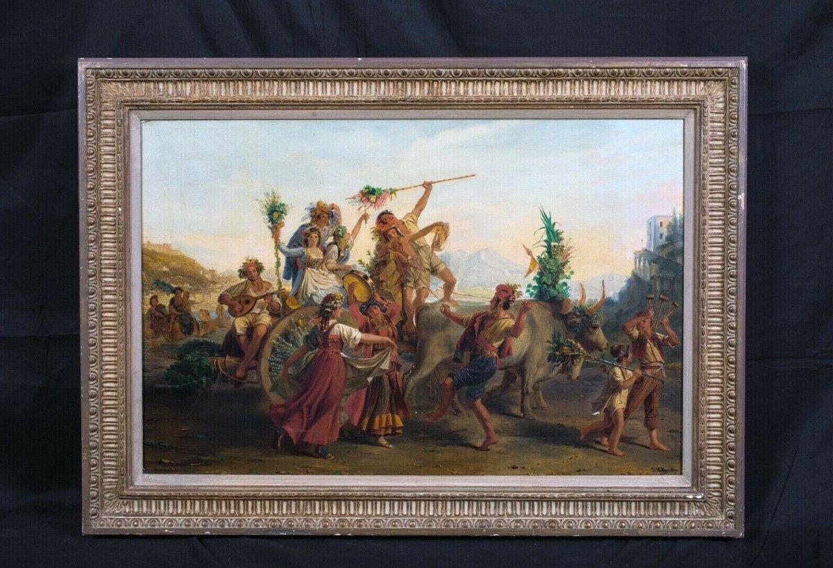 Le Retour De La Fête De La Madone De l'Arc, Près De Naples, XIXe Siècle-photo-2