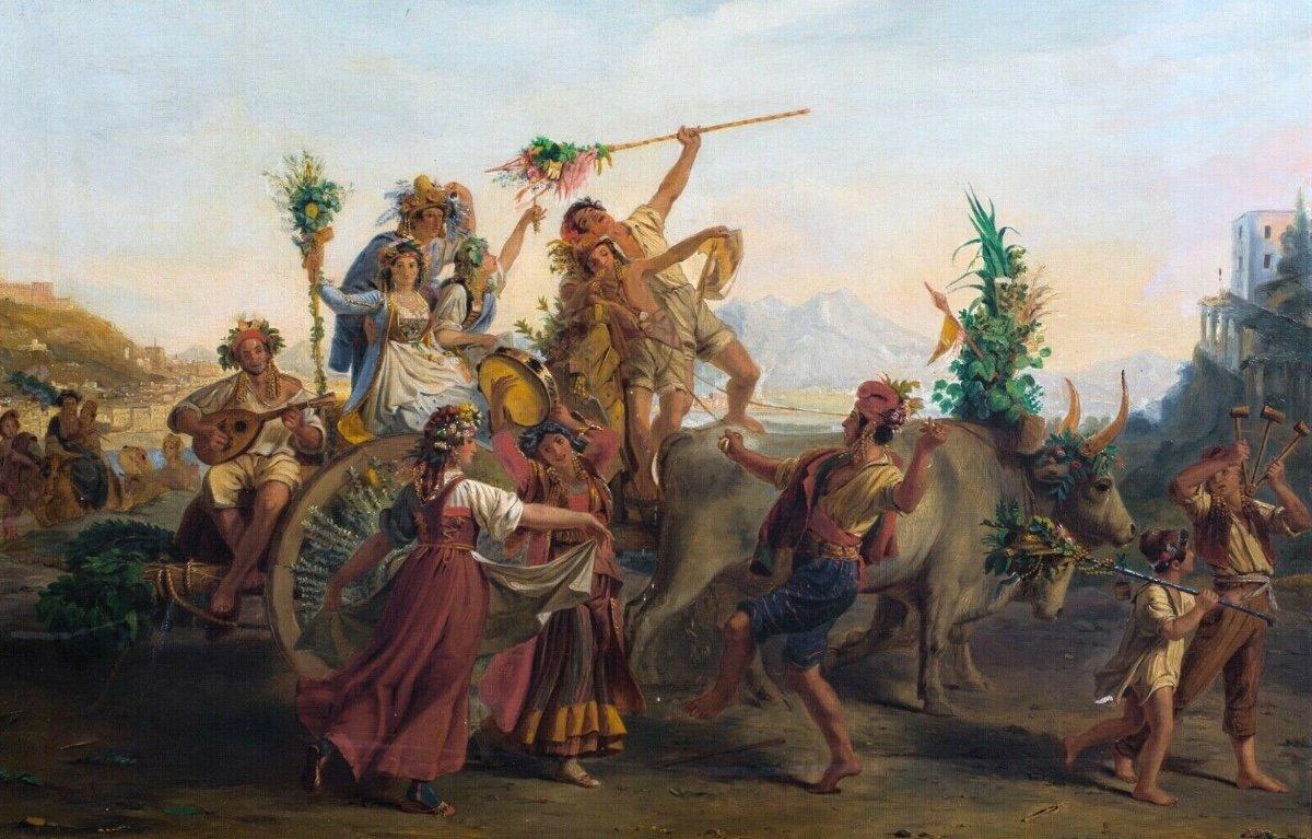 Le Retour De La Fête De La Madone De l'Arc, Près De Naples, XIXe Siècle-photo-3