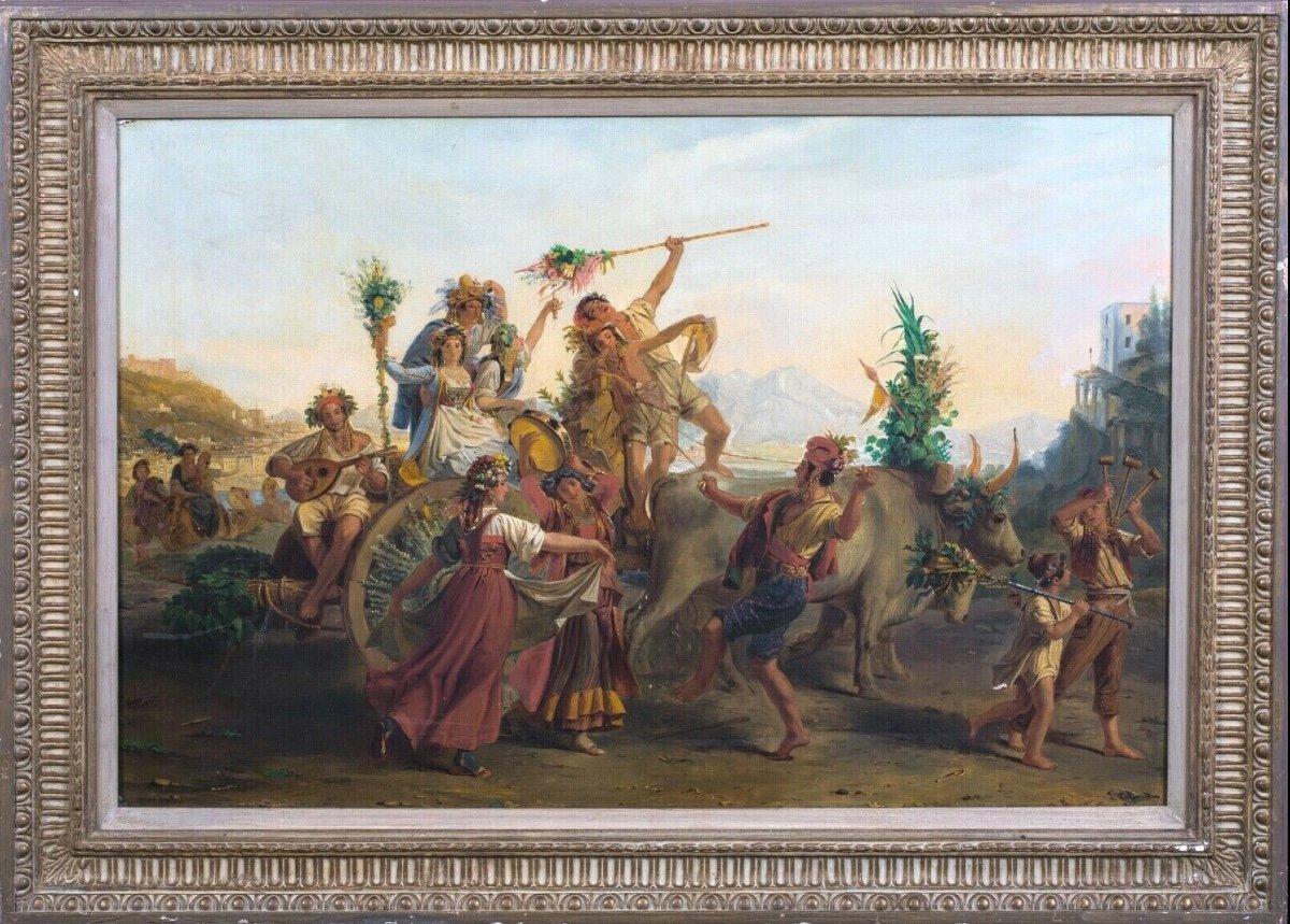 Le Retour De La Fête De La Madone De l'Arc, Près De Naples, XIXe Siècle