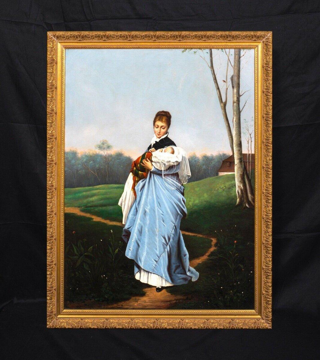 Portrait Of A Mother And Her Baby, Nineteenth Century School Of Friedrich August Von Kaulbach 1850-1920-photo-3